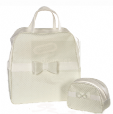 Christening bag perforated white / Τσάντα βάπτισης δερματίνη λευκή